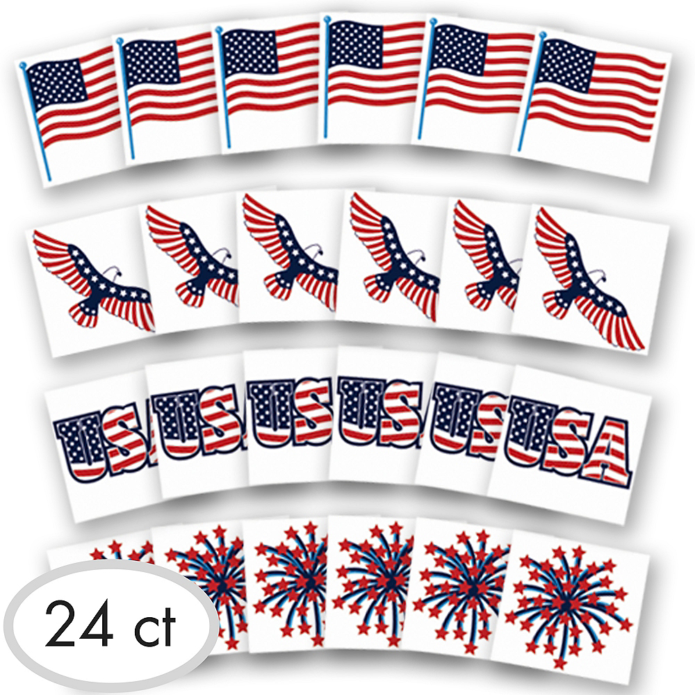 Patriotic American Flag Tattoos 24ct   Party City