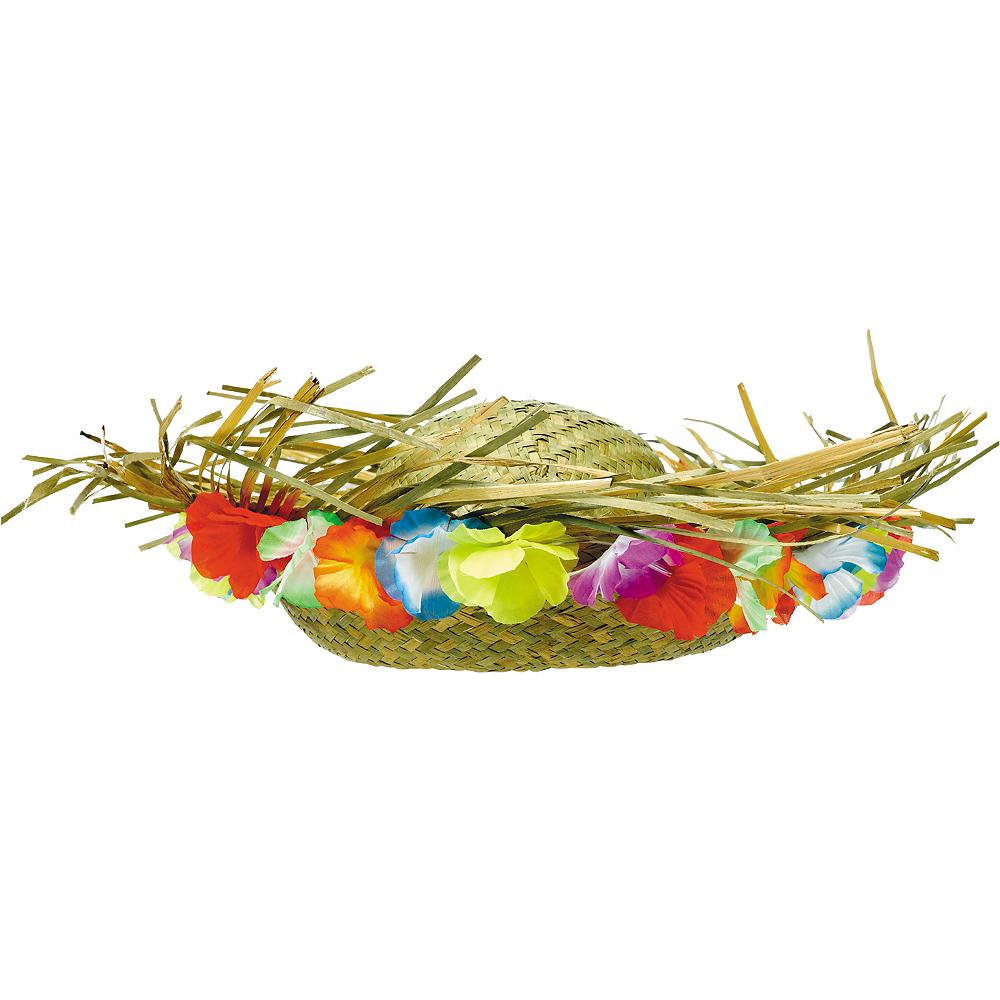 Floral Trim Hawaiian Straw Hat Image #1