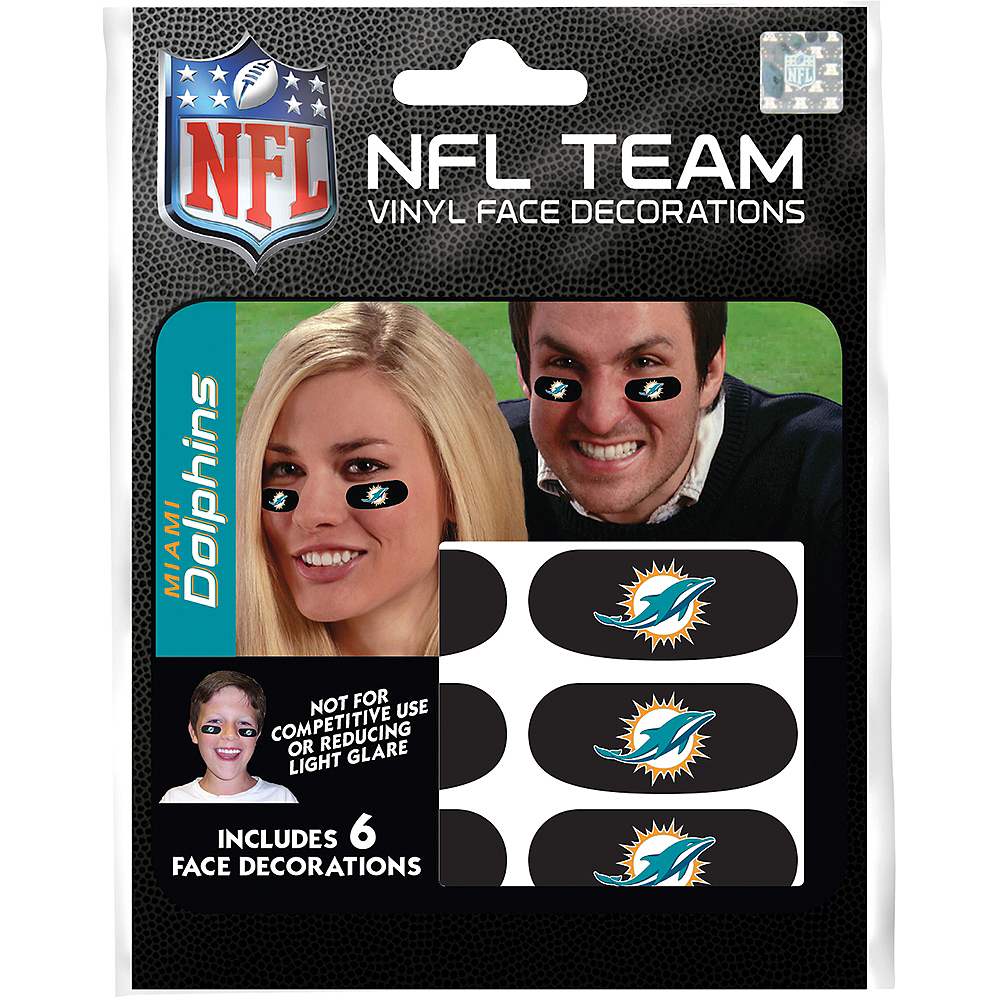 Miami Dolphins Eye Black Stickers 6ct Image #3