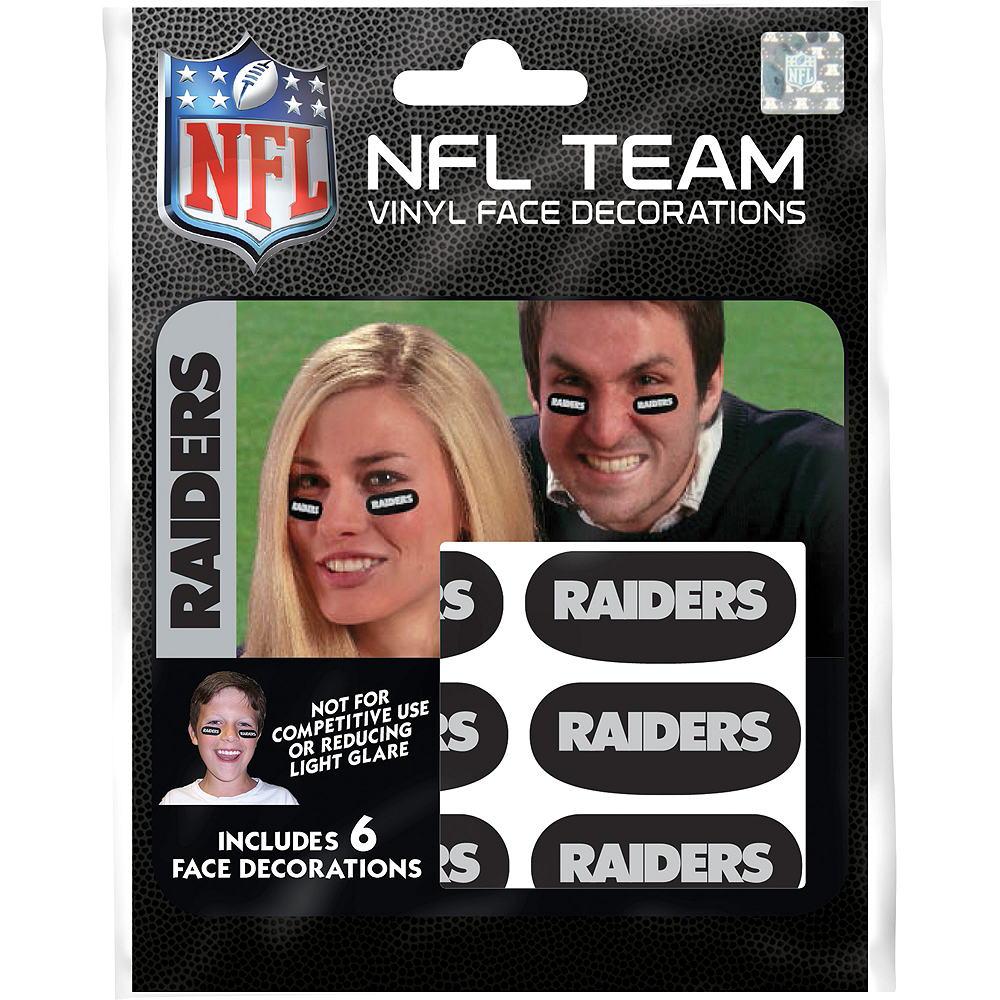 Oakland Raiders Eye Black Stickers 6ct Image #1