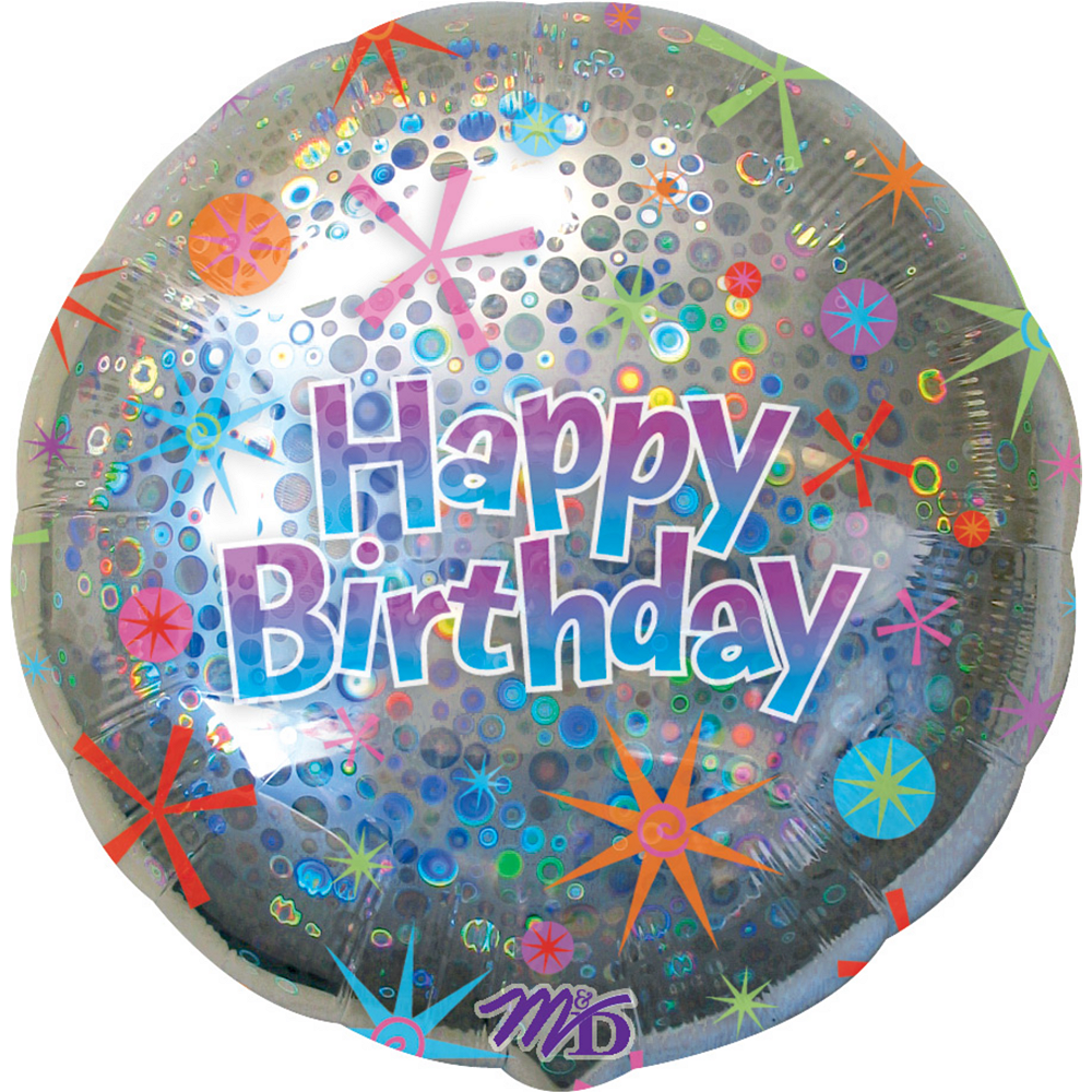 Holographic Celebration Happy Birthday Balloon Image 1