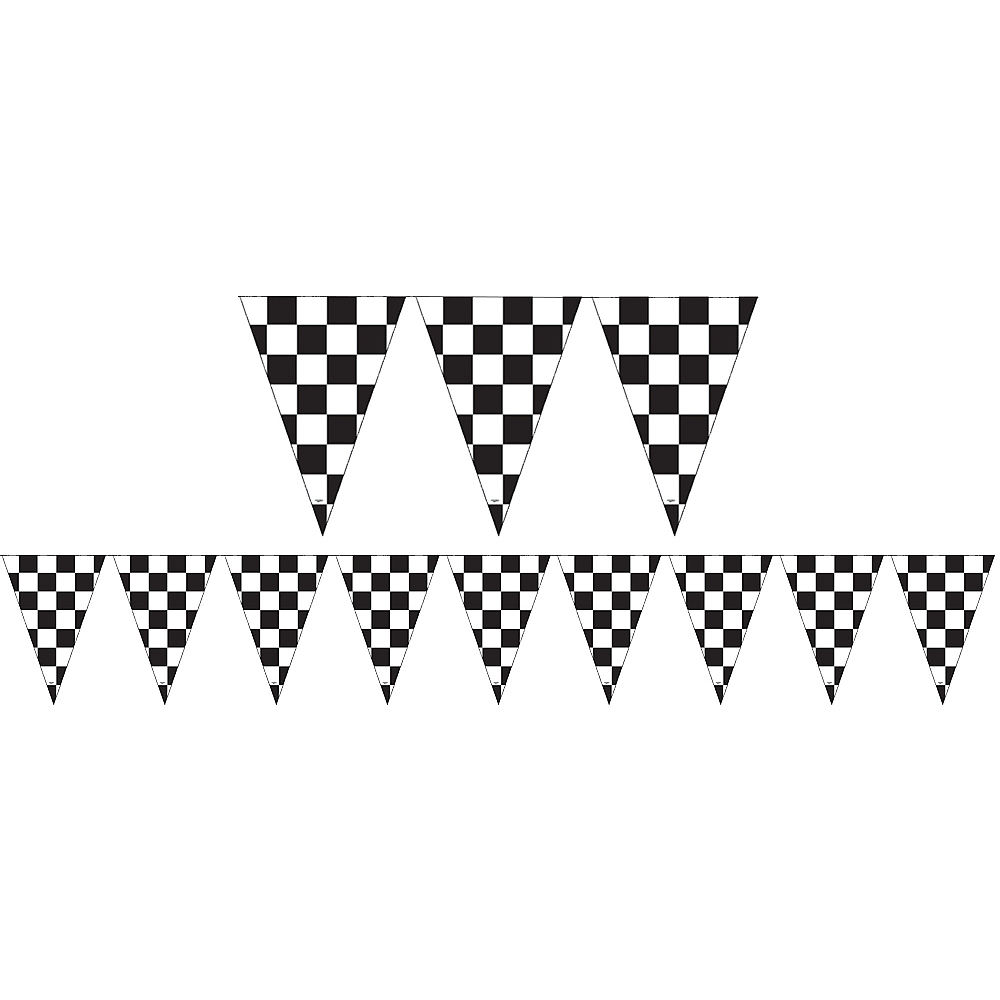 Outdoor Black & White Checkered Flag Pennant Banner Image #1