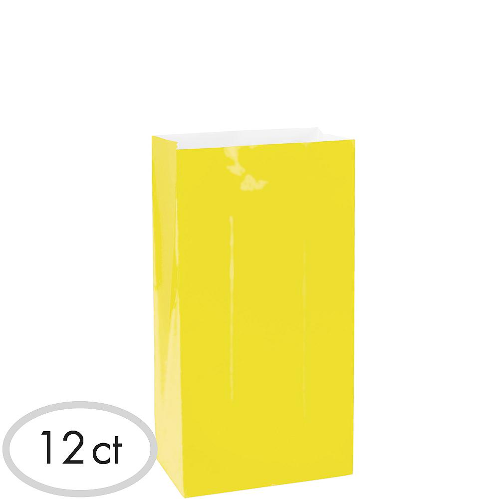 Medium Sunshine Yellow Paper Treat Bags 12ct Image #1