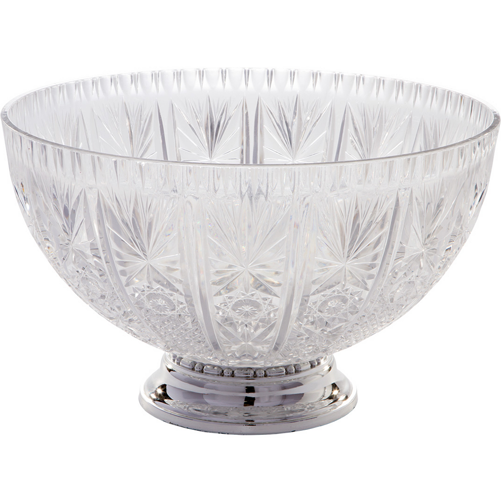 CLEAR Plastic Crystal Cut Punch Bowl Image #1