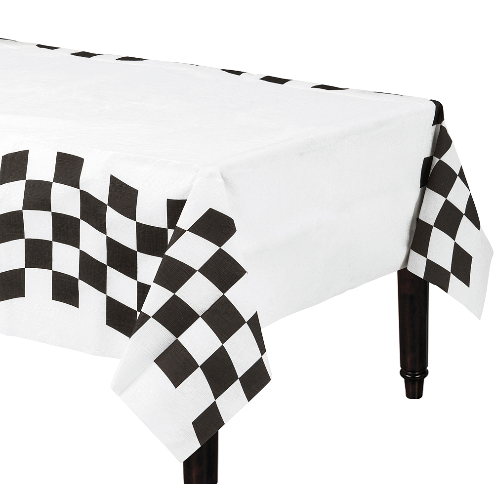 Black White Checkered Paper Table Cover Party City