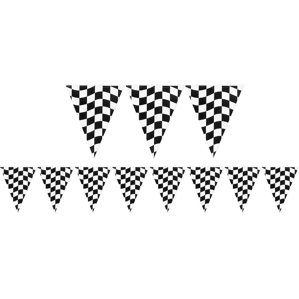 Black & White Checkered Pennant Banner Image #1
