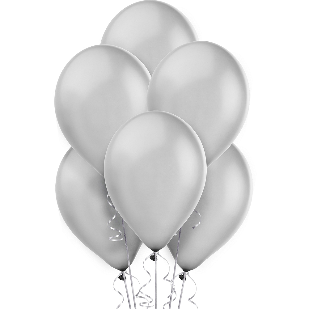 Silver Pearl Balloons 72ct, 12in Image #1