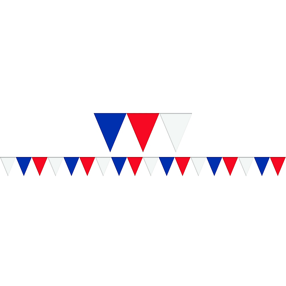 cfa711c44a057 Patriotic Red, White & Blue Pennant Banner 120ft x 18in | Party City