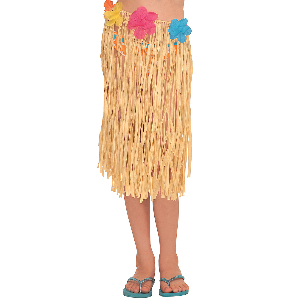 Child Raffia Hula Skirt with Flowers Image #1