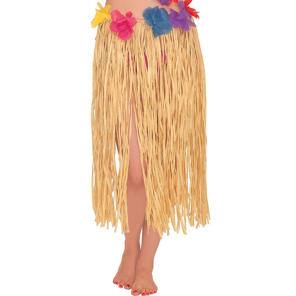 Adult Raffia Hula Skirt with Flowers Image #1