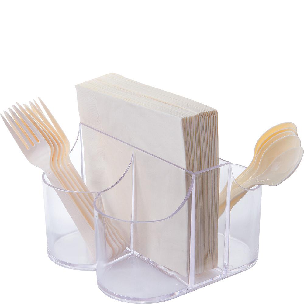 CLEAR Plastic Cutlery Caddy Image #1