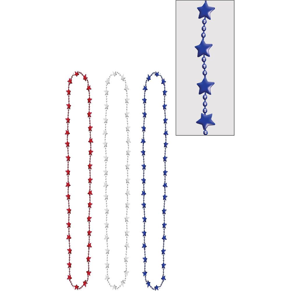 Metallic Patriotic Red, White & Blue Star Bead Necklaces 3ct Image #1