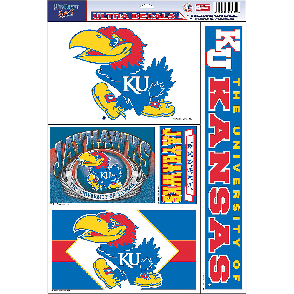 Kansas Jayhawks Decals 5ct Image #1