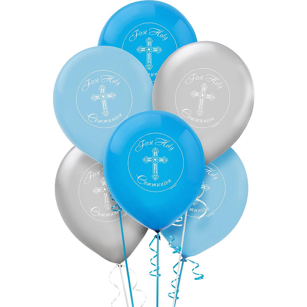 First Communion Balloons 15ct - Blue Image #1