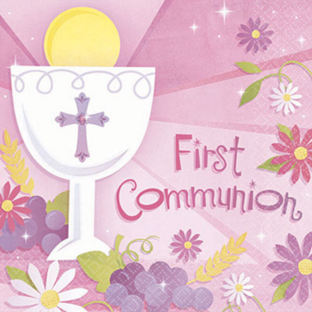 Girl's First Communion Beverage Napkins 36ct Image #1