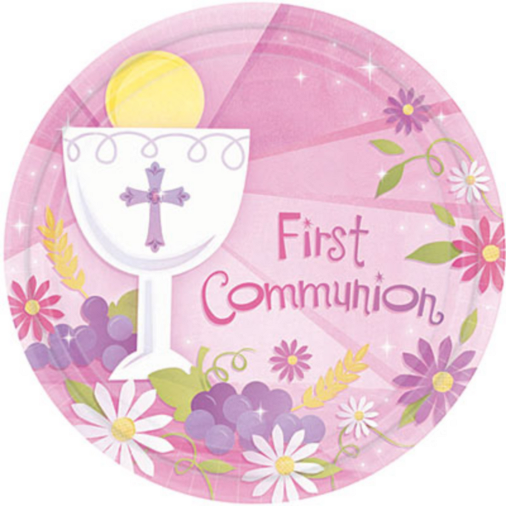 Girl's First Communion Dinner Plates 18ct Image #1
