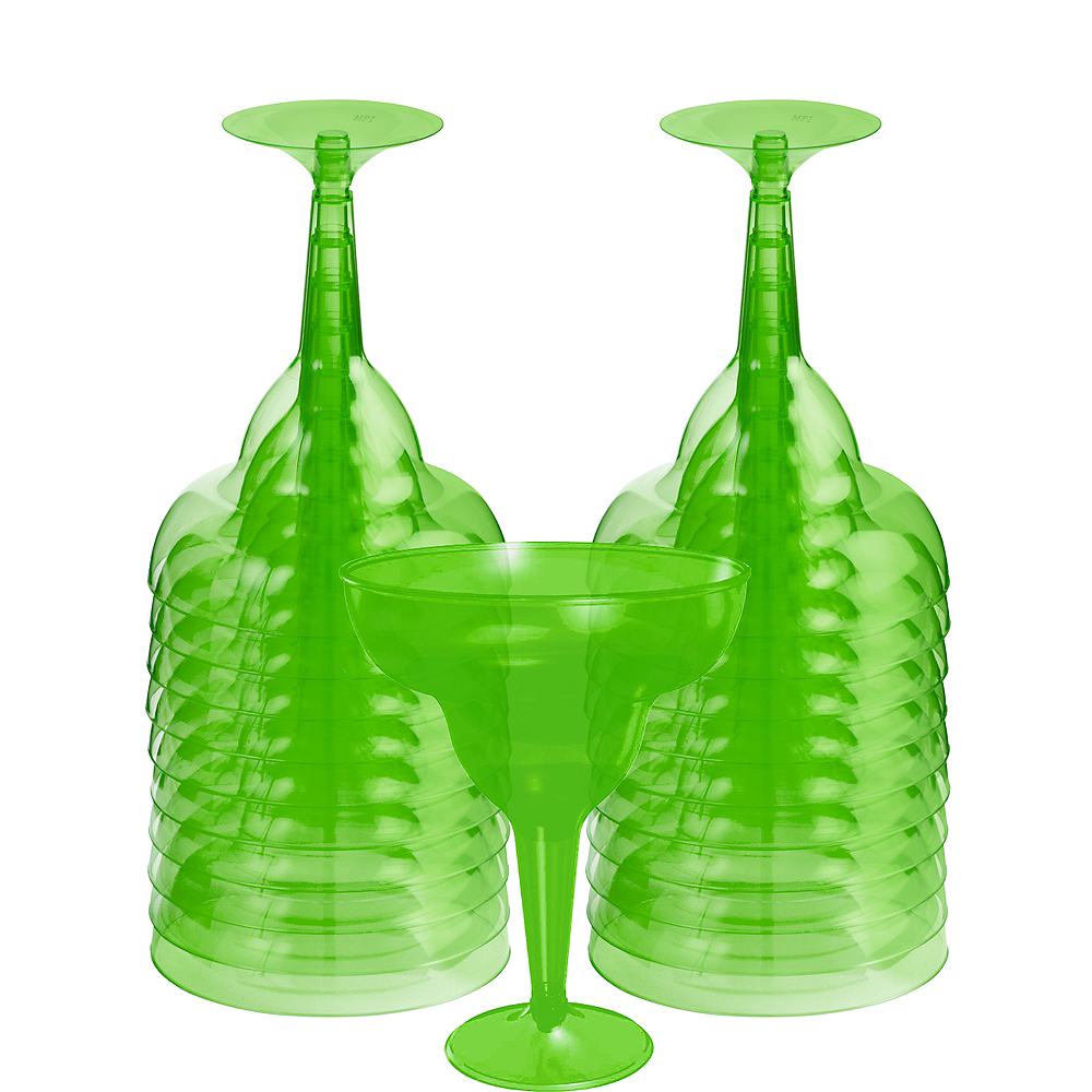 Kiwi Green Plastic Margarita Glasses 20ct Image #1