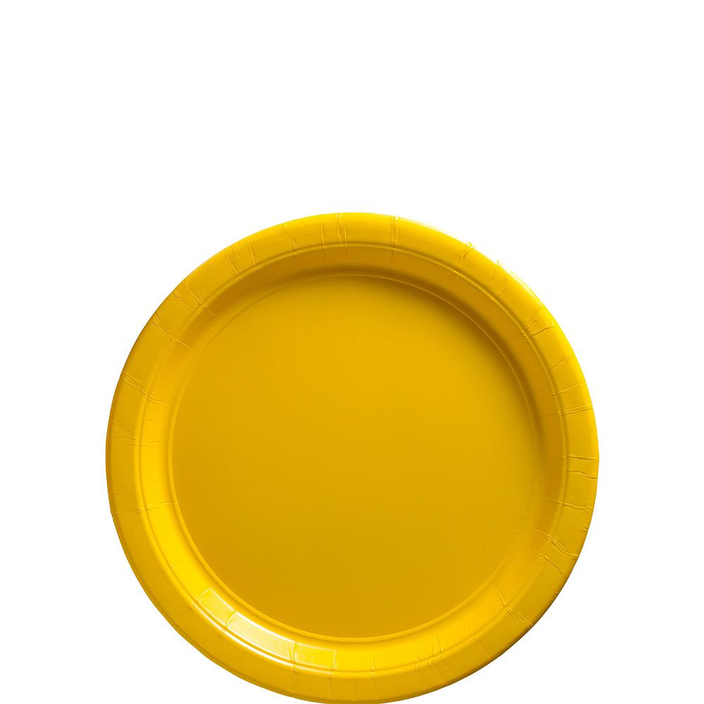 Big Party Pack Sunshine Yellow Paper Dessert Plates 50ct Image #1