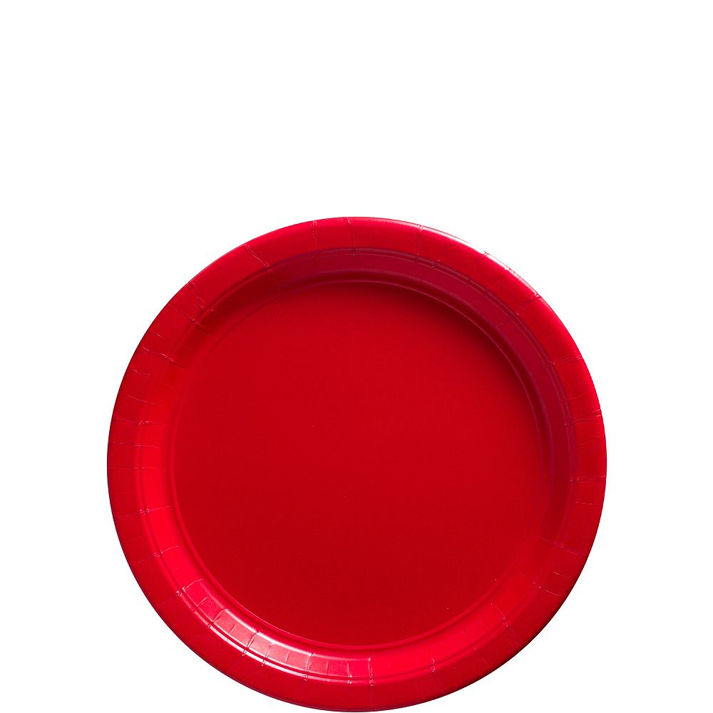 Big Party Pack Red Paper Dessert Plates 50ct Image #1