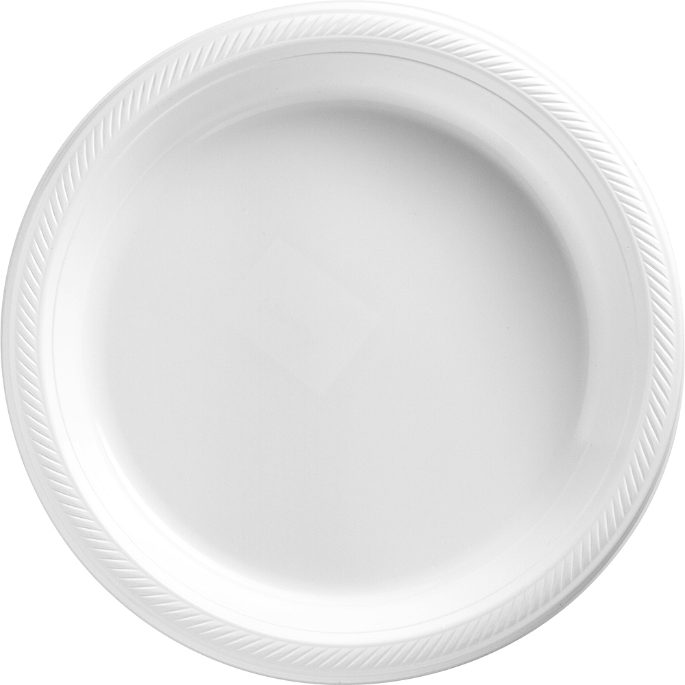 Big Party Pack White Plastic Dinner Plates 50ct Image #1