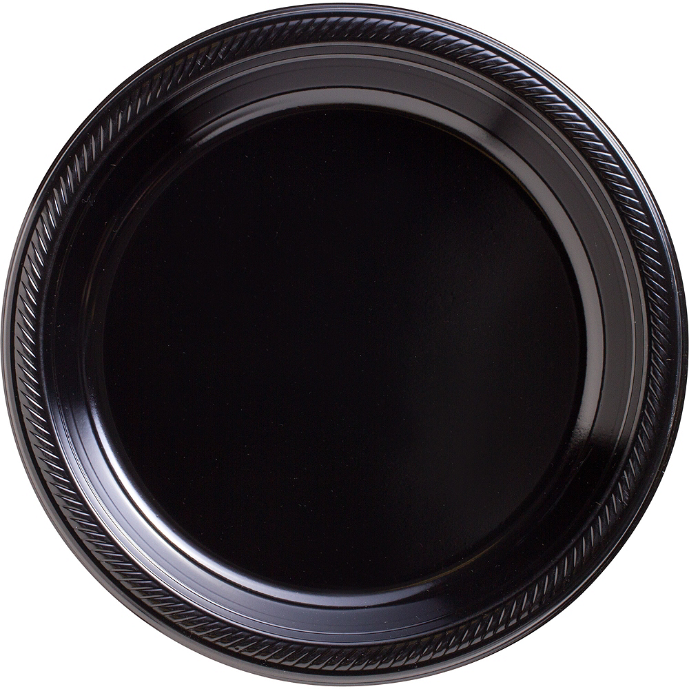 Big Party Pack Black Plastic Dinner Plates 50ct Image #1