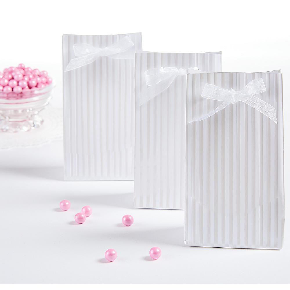 White Stripe Favor Bags 12ct Image #1