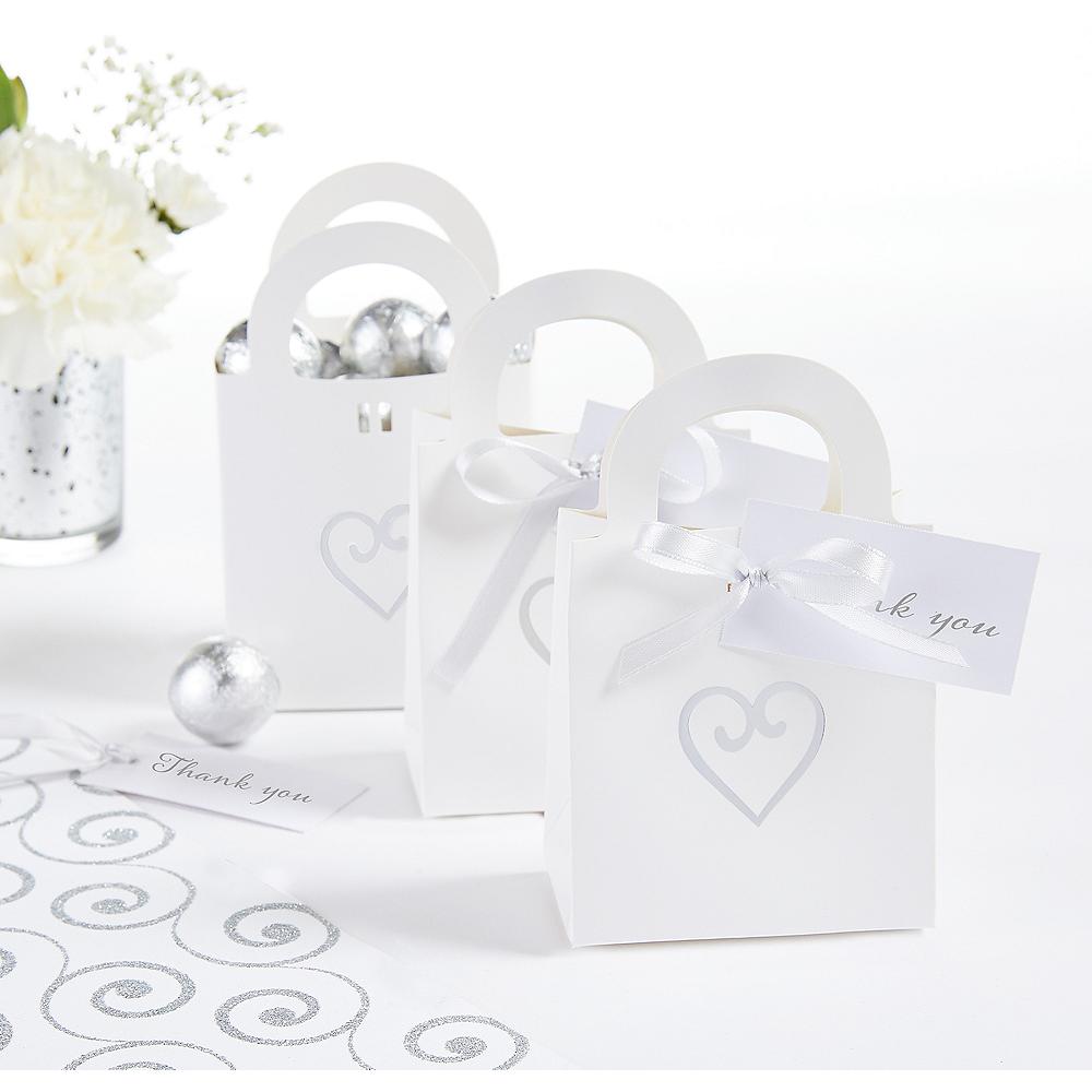 White Heart Wedding Favor Bag Kit