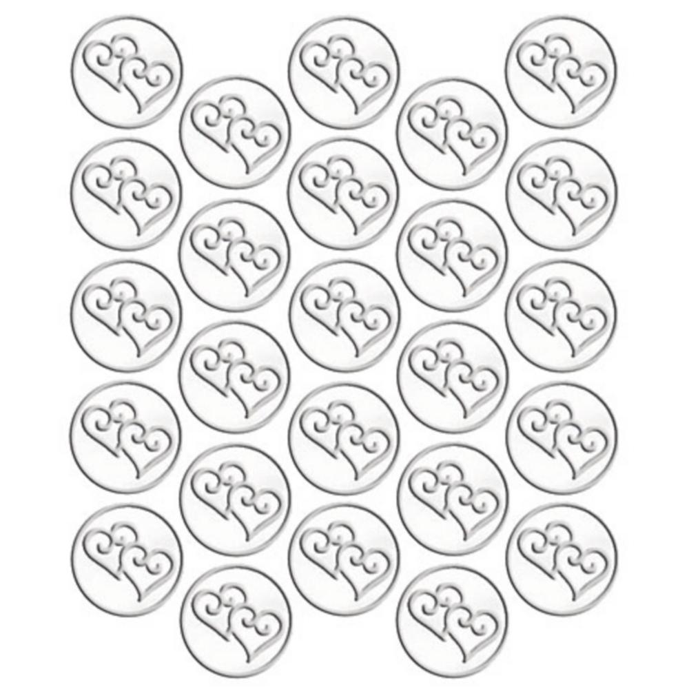Silver Heart Metallic Sticker Seals 25ct Image #1