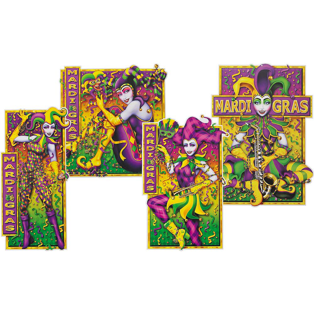 Mardi Gras Jesters Cutouts 4ct Image #1