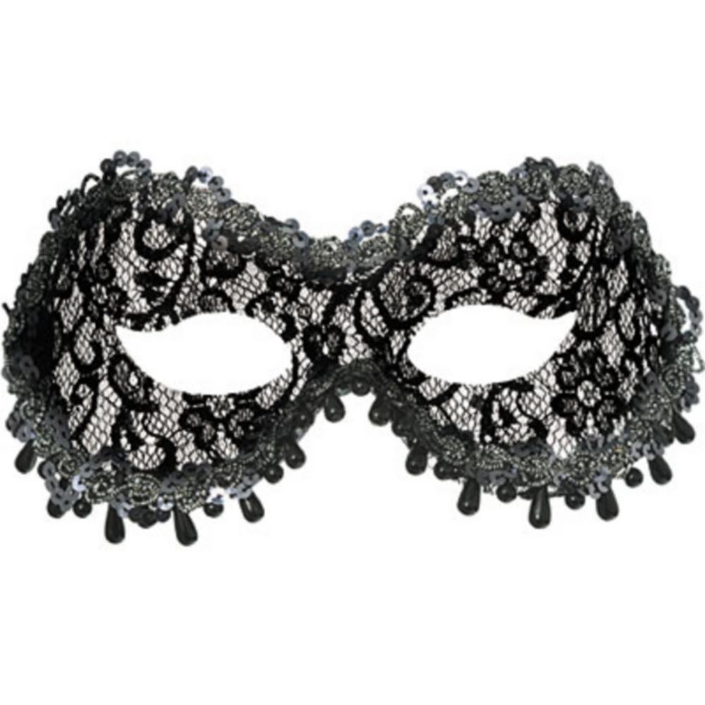 Black Lace Raindrop Masquerade Mask Image #1