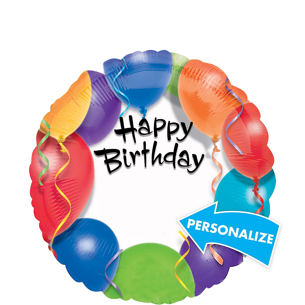 Personalized Colorful Balloons Happy Birthday Balloon, 17in Image #1