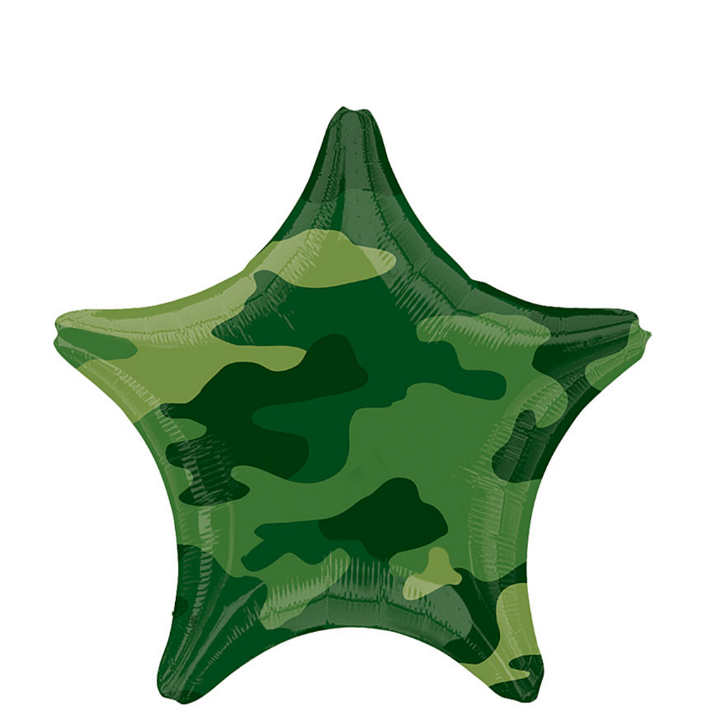Camouflage Birthday Balloon - Star, 18in Image #1