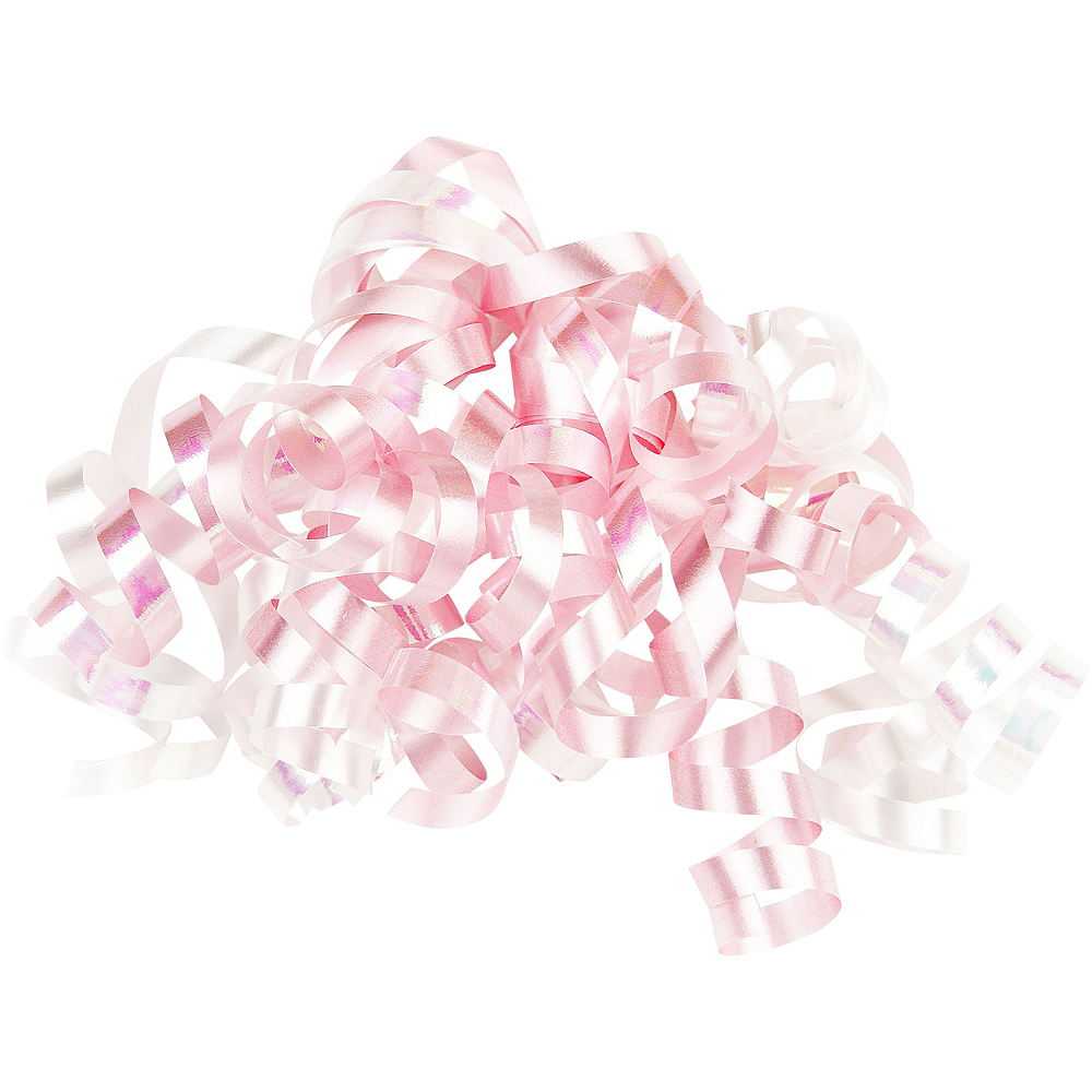 Iridescent Pink & White Curly Bow Image #1