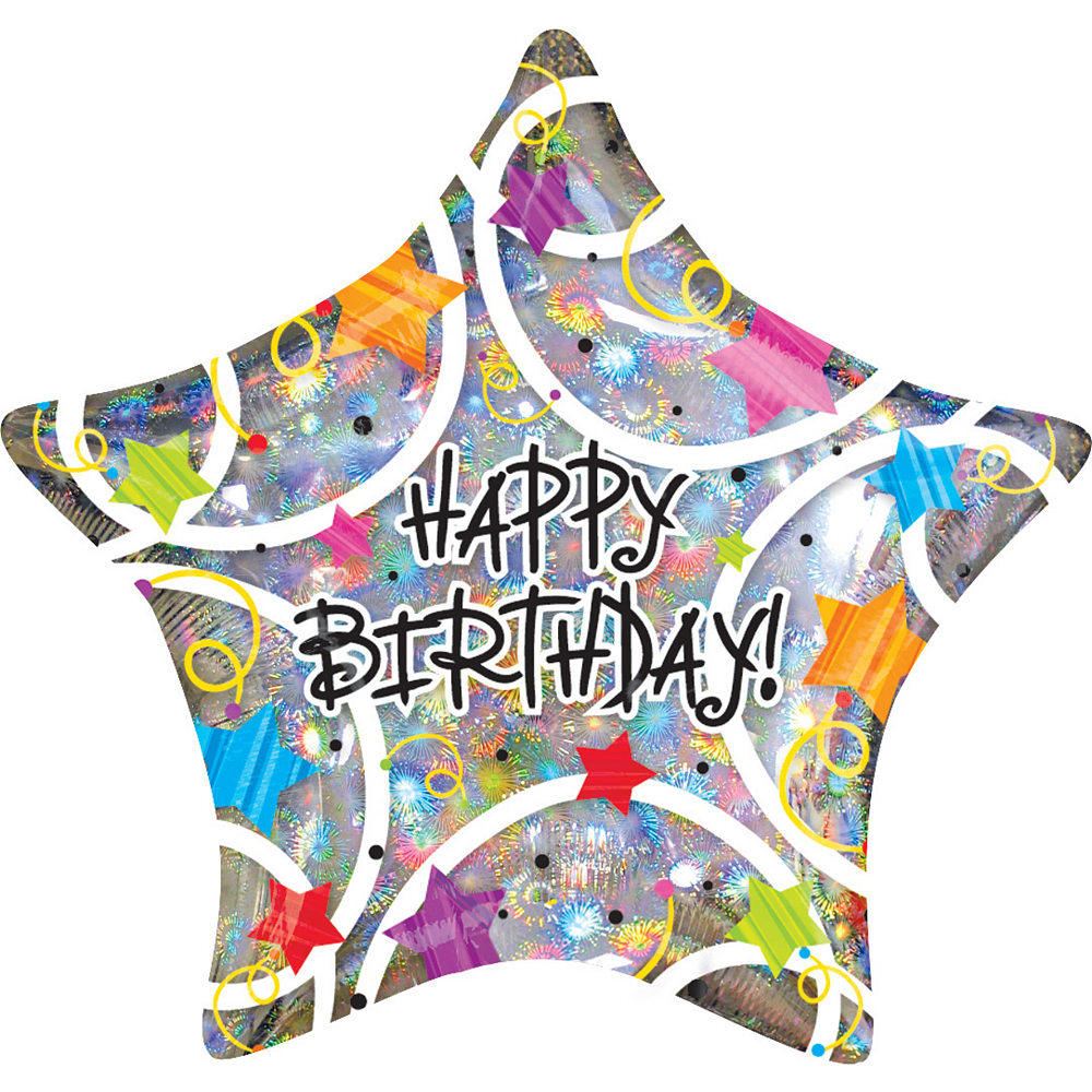 Holographic Star Happy Birthday Balloon Image #1