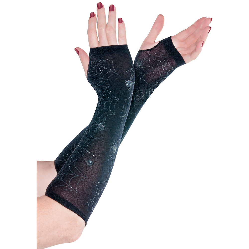 Black Spider Web Arm Warmers Image #1