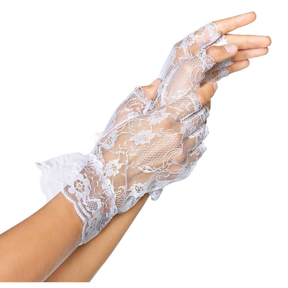 White Lace Fingerless Gloves Image #1