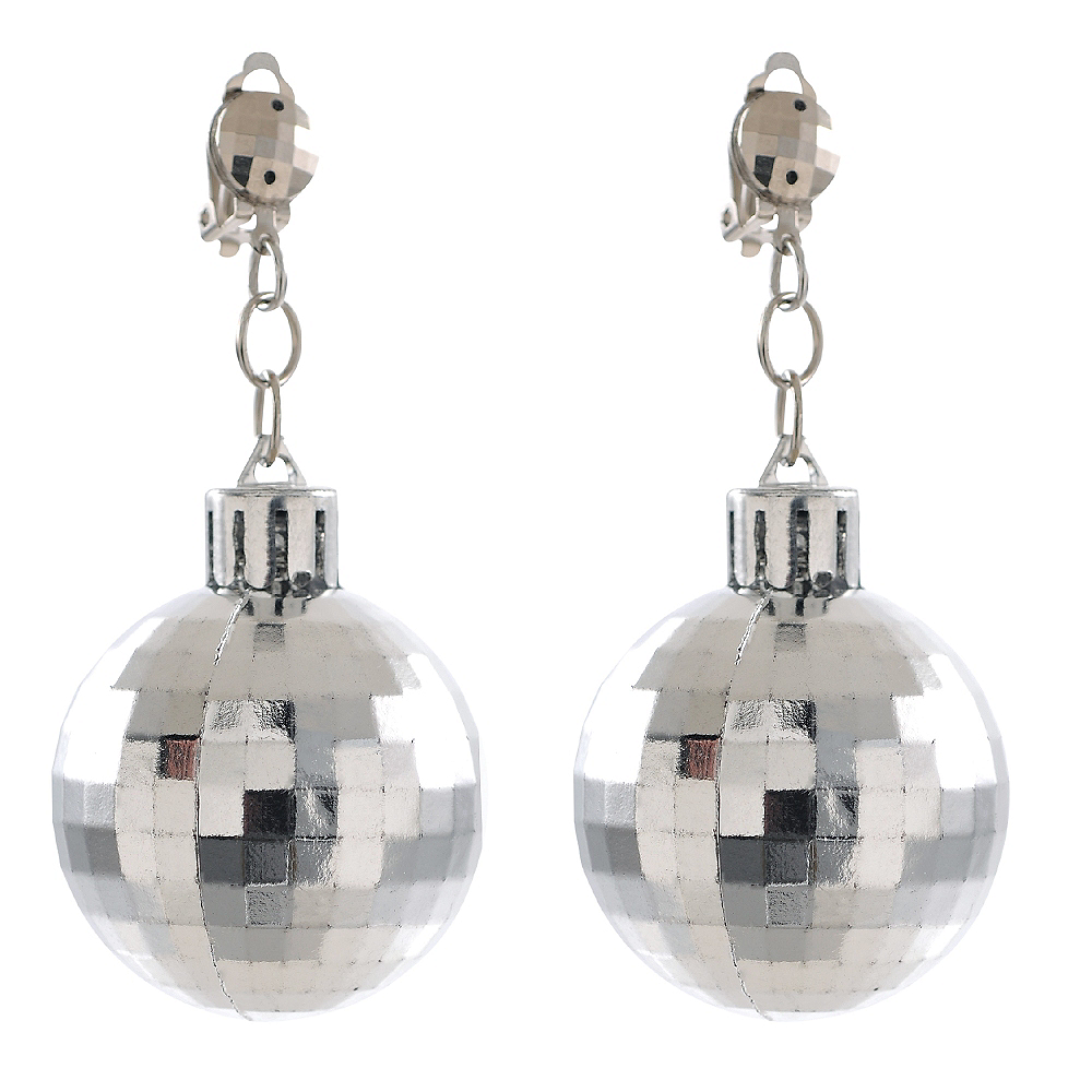 Silver Disco Ball Earrings Image #1