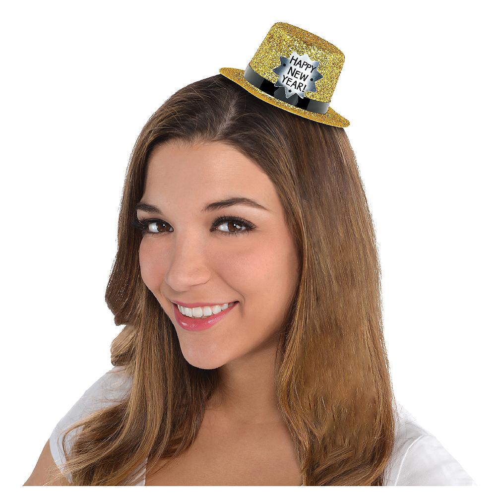 Glitter New Year's Mini Top Hat Image #1