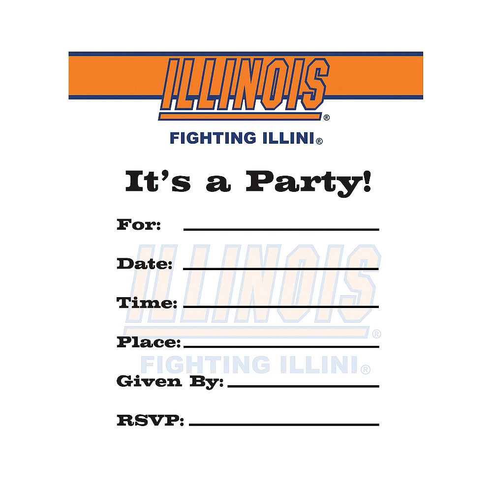 Illinois Fighting Illini Invitations 8ct Image #1