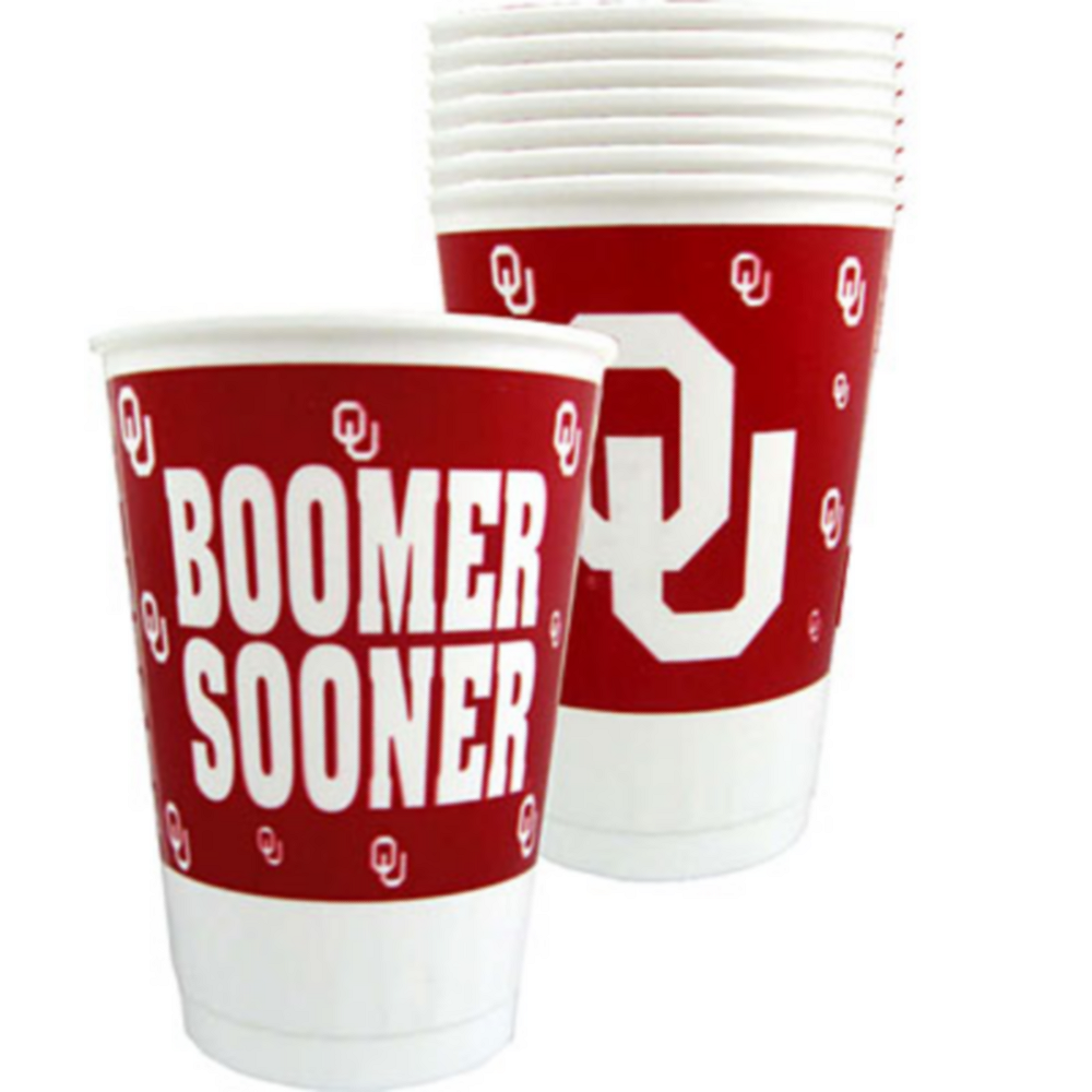 Oklahoma Sooners Plastic Cups 8ct Image #1