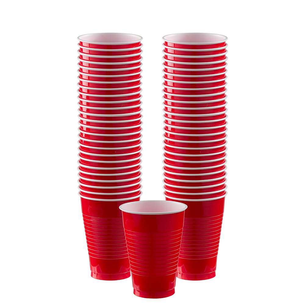 Red Plastic Cups, 12oz, 50ct Image #1