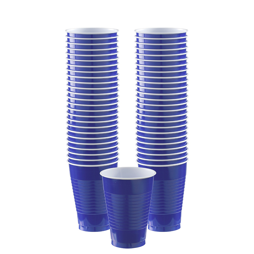Big Party Pack Royal Blue Plastic Cups 50ct Image #1
