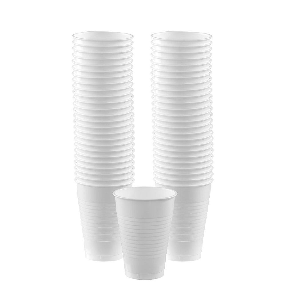 White Plastic Cups, 12oz, 50ct Image #1