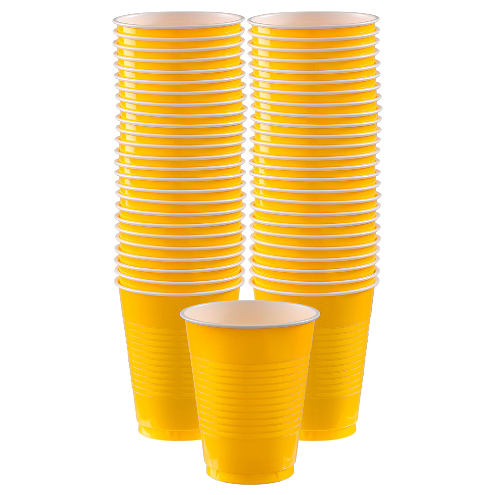 Sunshine Yellow Plastic Cups, 16oz, 50ct Image #1