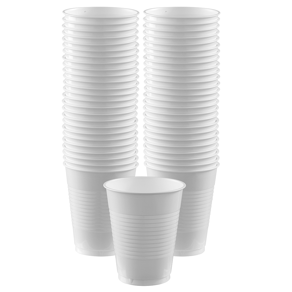 White Plastic Cups, 16oz, 50ct Image #1