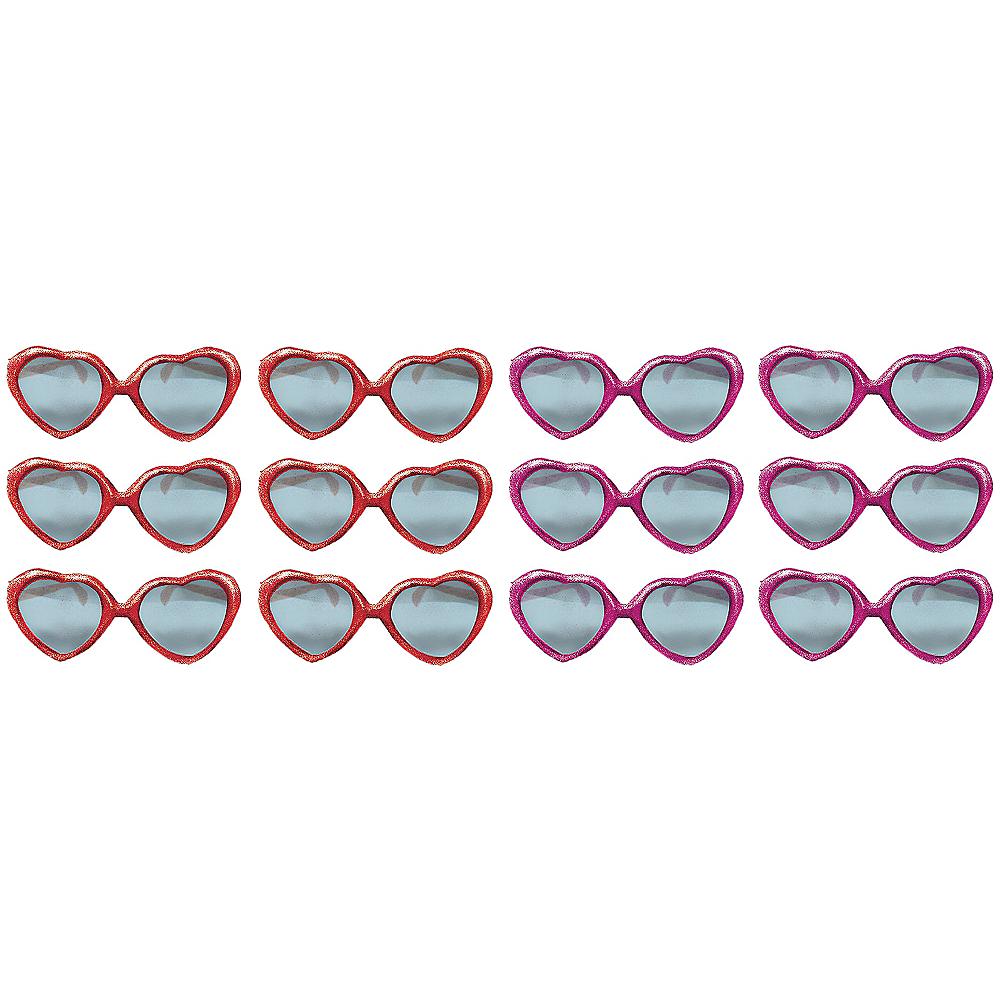 Glitter Heart Valentine Sunglasses 12ct Image #1