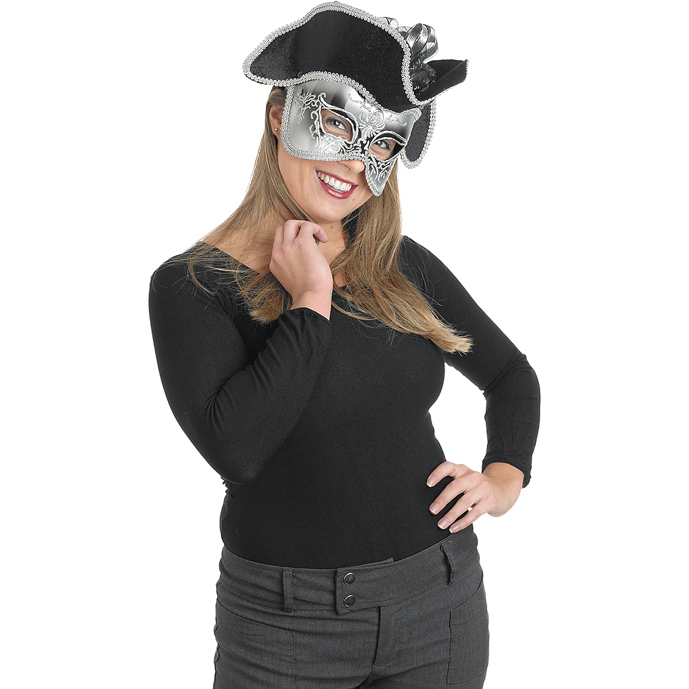 Silver Masquerade Mask with Hat Image #1