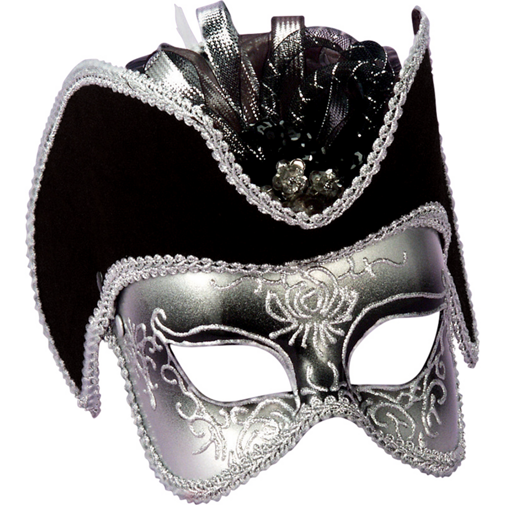 Silver Masquerade Mask with Hat Image #2