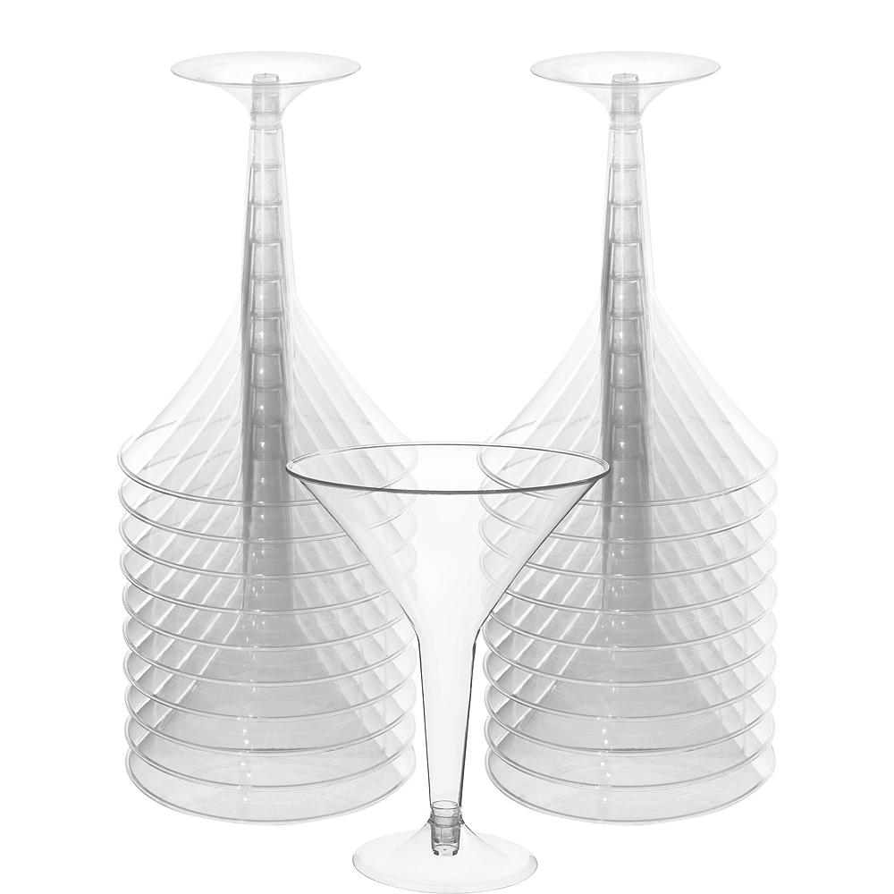 Big Party Pack CLEAR Plastic Martini Glasses 20ct Image #1