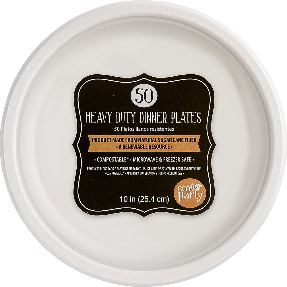 Eco-Friendly White Sugar Cane Dinner Plates 50ct Image #1